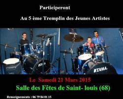 Ecole de batterie TAMA - Muespach-Le-Haut - 5E TREMPLIN DES JEUNES ARTISTES DU 21 MARS 2015 À SAINT-LOUIS (68)