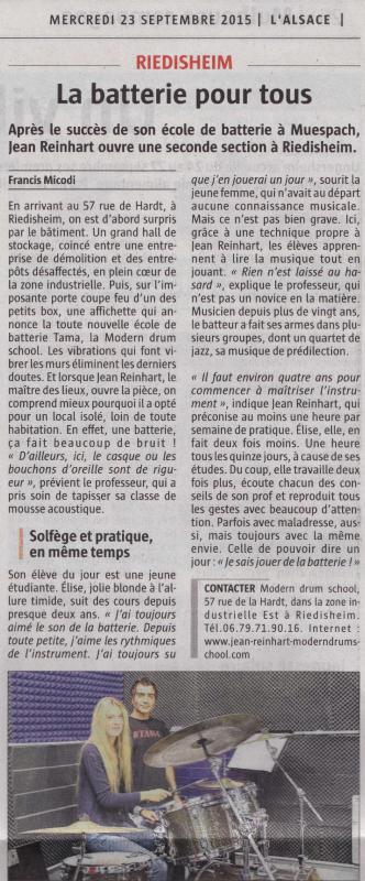 Article de presse de L'Alsace du 23.09.15-Ecole de batterie de Riedisheim